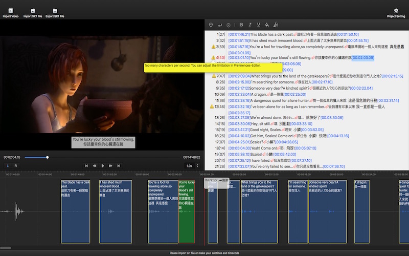 Subtitle Edit on Mac-Create,edit,sync,timing your subtitles